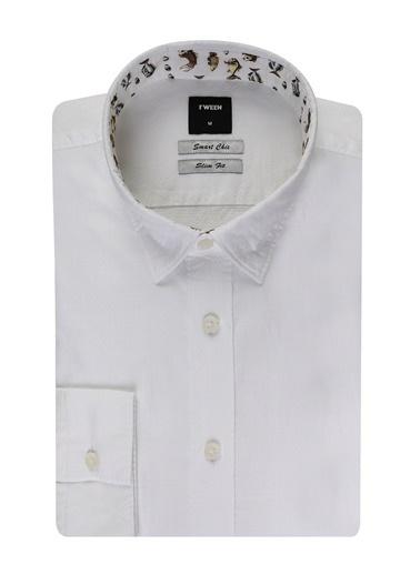 Tween Slim Fit Desenli Gomlek Beyaz